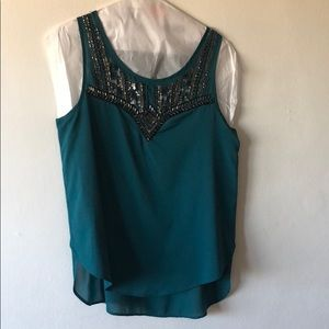 Teal beaded sleeveless silk-like blouse
